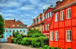 Byggnader i den gamla staden av Helsingor - Danmark Fotografering för Bildbyråer