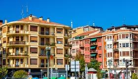 Byggnader i den gamla staden av Irun - Spanien Fotografering för Bildbyråer