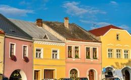 Byggnader i den gamla staden av Prerov, Tjeckien Arkivfoton