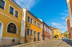 Byggnader i den gamla staden av Prerov, Tjeckien Royaltyfri Bild