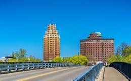Byggnader i den Niagara Falls staden - New York, USA Royaltyfria Bilder