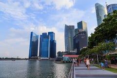 Byggnader i den Singapore staden, Singapore - 13 September 2014 Royaltyfria Bilder