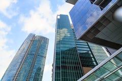 Byggnader i den Singapore staden, Singapore - 13 September 2014 Arkivbilder