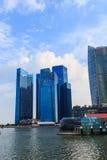 Byggnader i den Singapore staden, Singapore - 13 September 2014 Arkivbild