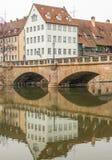 Byggnader i den tyska staden av nuremberg Royaltyfria Bilder