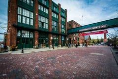 Byggnader i det historiska området för spritfabrik, i Toronto, Ontar arkivfoto