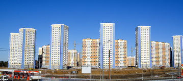 Byggnader i det nya Domodedovo området Arkivbilder