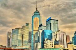 Byggnader i det Wan Chai området av Hong Kong Royaltyfri Foto