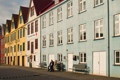 Byggnader i Faroe Island den huvudgamla staden Royaltyfri Fotografi