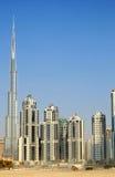 Byggnader i i stadens centrum Dubai - Burj Khalifa Royaltyfri Bild