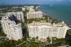 Byggnader i Key Biscayne Florida fotografering för bildbyråer
