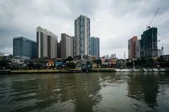 Byggnader i Mandaluyong och den Pasig floden, i Makati, tunnelbana M arkivfoto