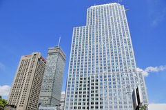 Byggnader i Montreals internationella område Royaltyfria Bilder