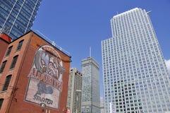 Byggnader i Montreals internationella område Arkivbild