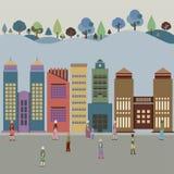 Byggnader i staden med Forest Behind royaltyfri illustrationer