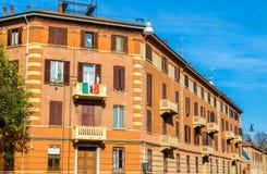 Byggnader i stadsmitten av Ferrara arkivbild