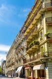 Byggnader i stadsmitten av Lausanne Arkivfoton