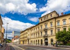 Byggnader i stadsmitten av Ljubljana Fotografering för Bildbyråer