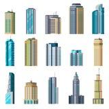 Byggnader och moderna stadshus Byggande uppsättning för stad för skyskrapa för exponeringsglas för yttre plant hem för lägenhet f royaltyfri illustrationer