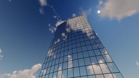 Byggnader och moln för skyskrapa företags arkivfilmer
