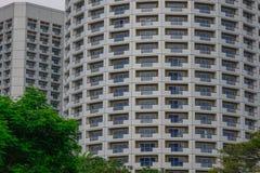 Byggnader på centret i Singapore Arkivbilder