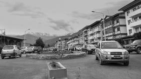 Byggnader på centret i Thimphu, Bhutan Arkivbilder