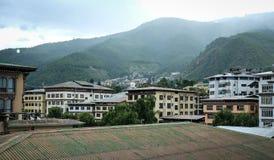 Byggnader på centret i Thimphu, Bhutan Fotografering för Bildbyråer
