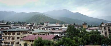Byggnader på centret i Thimphu, Bhutan Royaltyfria Foton