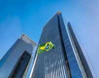 Byggnader på den Morumbi grannskapen i Sao Paulo det finansiella området - Sao Paulo, Brasilien Royaltyfria Bilder