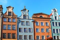 Byggnader på marknadsför Long gatan, Gdansk, Polen Royaltyfri Bild