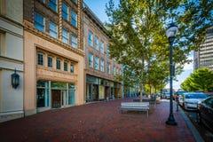 Byggnader på packefyrkanten, i i stadens centrum Asheville, North Carolina Royaltyfri Bild