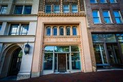 Byggnader på packefyrkanten, i i stadens centrum Asheville, North Carolina Fotografering för Bildbyråer