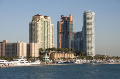 Byggnader på den Miami Beach marina Royaltyfria Foton