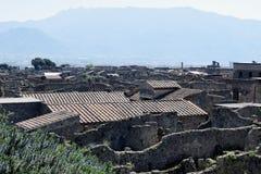 Byggnader Pompeii arkeologisk plats, nr Mount Vesuvius, Italien Arkivfoto