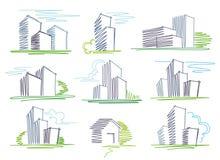 byggnader skissar Arkivbilder