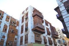 Byggnader som förbiser över den historiska jeddah gården Arkivbilder
