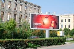 Byggnader som förstörs under kriget på Mostar på Bosnien Herzegovi Royaltyfri Fotografi