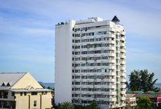Byggnader som lokaliseras i Pattaya, Thailand Arkivbild