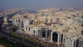 Byggnaderna i emiraten av Dubai flyg- sikt Dubai United Arab Emirates Flyg- sikt av affärsområdet av Arkivbilder