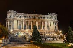 Byggnads`-Cercul Militar den nationella `en från Bucharest, Rumänien, nattetid Royaltyfri Foto