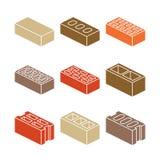 Byggnads- och contructionmaterialsymboler - färgrika tegelstenar på vit bakgrund vektor illustrationer
