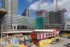 Byggnadsaktiviteter på den nya centralstationen av The Hague, Nederländerna Royaltyfria Bilder