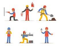 Byggnadsarbetare-, arkitekt- och teknikervektortecken Royaltyfria Bilder
