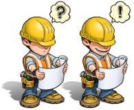 Byggnadsarbetare - läsa plan Arkivfoto