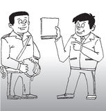 Byggnadsarbetare med framstickandet Arkivbild
