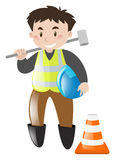 Byggnadsarbetare med hjälpmedlet vektor illustrationer