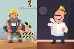 Byggnadsarbetare och arkitekt Cartoon royaltyfri illustrationer