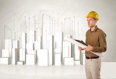 Byggnadsarbetare som hyvlar med byggnader 3d i bakgrund royaltyfri fotografi