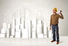 Byggnadsarbetare som hyvlar med byggnader 3d i bakgrund royaltyfria bilder