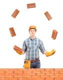 Byggnadsarbetare som jonglerar med tegelstenar bak en tegelstenvägg Royaltyfria Foton